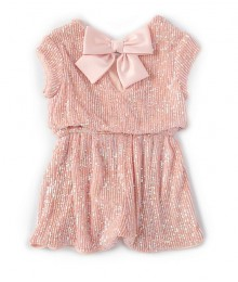 Bonnie Jean Pink Bow Back Sparkle Romper Little Girl