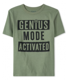 Childrens Place Olive Green Genius Mode Graphic Tee
