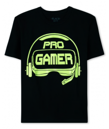 Childrens Place Black Pro Gamer Graphic Tee  Big Boy
