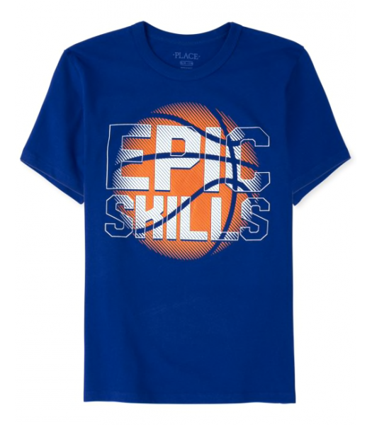 Childrens Place Blue Inked Epic Skills Graphic Tee