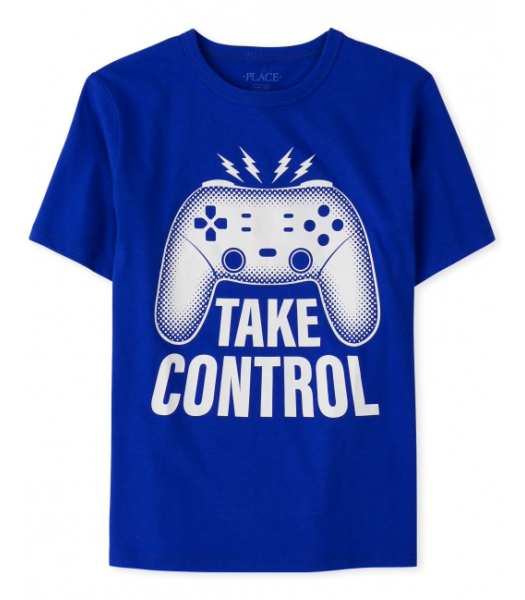 Childrens Place Blue Take Control Gamer Graphic Tee