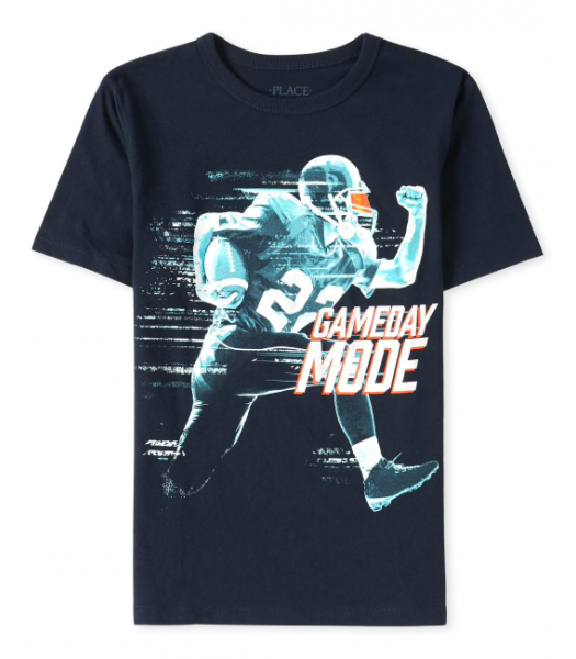 Childrens Place Navy Game Day Mode Graphic Tee.