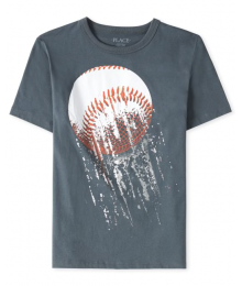 Childrens Place Grey Cricket Ball Graphic Tee Little Boy