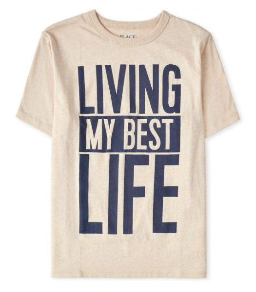 Childrens Place Light Brown Best Life Graphic Tee