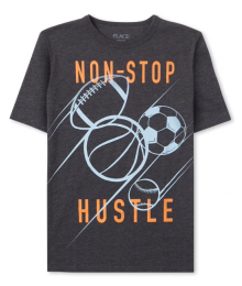 Childrens Place Black Non Stop Hustler Graphic Tee  Little Boy