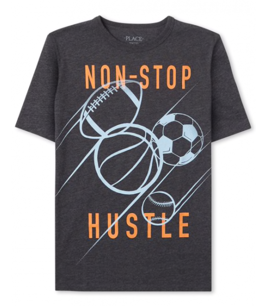 Childrens Place Black Non Stop Hustler Graphic Tee