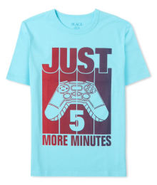 Childrens Place Aqua Blue Just 5 More Minutes Graphic Tee Little Boy