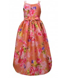 Bonnie Jean Iris & Ivy Orange Multi Floral Mikado Hi-Low Dress  Big Girl