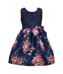 Bonnie Jean Navy Sequin To Mikado Floral Dress  Little Girl