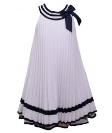 Bonnie Jean White With Navy Trim Nautical Pleat Dress Big Girl