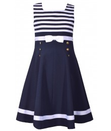 Bonnie Jean Navy Wt Navy/White Striped Bodice Fit And Flare Gold Buttons Dress  Big Girl