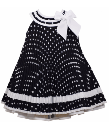 Bonnie Jean Navy With White Trim Polka Dot Nautical Pleat Dress
