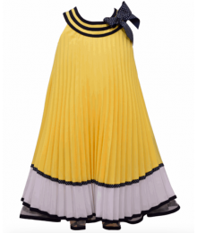 Bonnie Jean Yellow With White & Blue Trim And Polka Dot Bow Nautical Pleat Dress  Little Girl