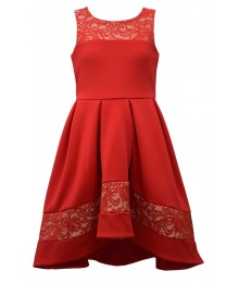 Bonnie Jean Red Hi-Low Scuba Dress