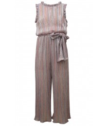 Bonnie Jean Multi Striped Brown/Gold/Metallic Sheer Boudre Jumpsuit
