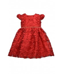 Bonnie Jean Red Soutache Beaded Waist Dress Baby Girl