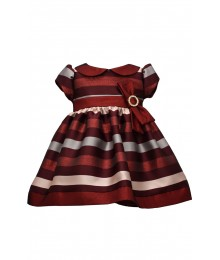 Bonnie Jean Burgundy Jacquard Stripe With Bow Dress  Baby Girl