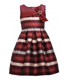 Bonnie Jean Burgundy Jacquard With Bow Dress Little Girl