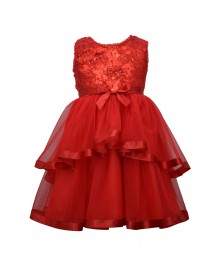 Bonnie Jean Red Sequin To Mesh Ball Dress Little Girl