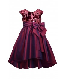 Bonnie Jean Burgundy Sequin High Low Dress