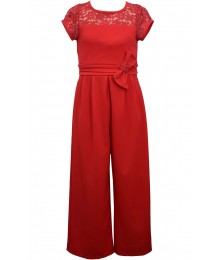 Bonnie Jean Red Side Bow Jumpsuit With Sequin Lace Bodice