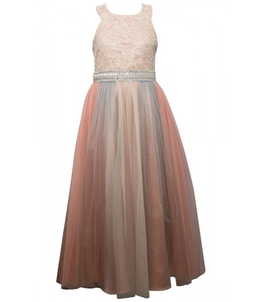 Bonnie Jean Blue Gorgeous Blush Panelled Mesh Gown