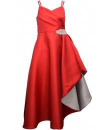Bonnie Jean Iris & Ivy Red Mikado Jewelled Ballgown