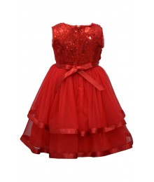 Bonnie Jean Red Sequin To Mesh Ball Dress
