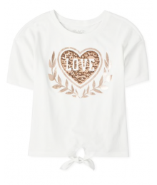 Childrens Place White Love Heart Sequin Tee