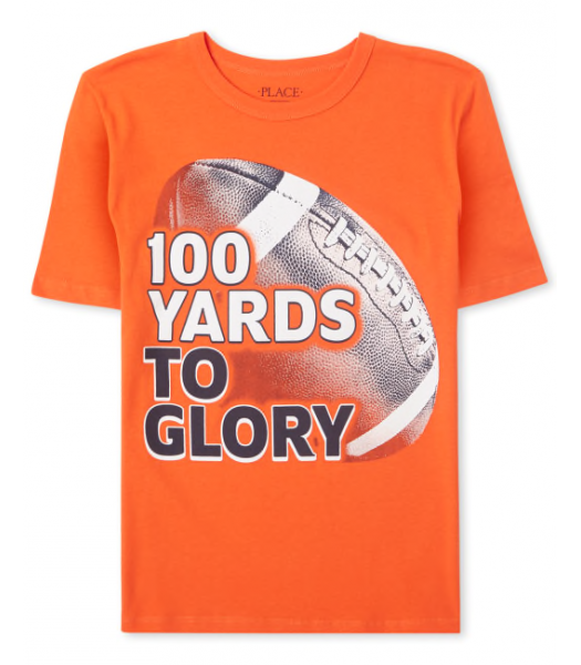 Childrens Place Orange American Football 100 Yards To Glory Graphic Tee