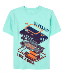 Childrens Place Aqua Level Up Like A Boss Boys Graphic Tee Little Boy
