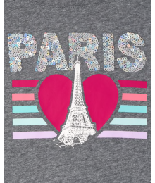 Childrens Place Grey Paris Eiffel Tower Love Girls Tee