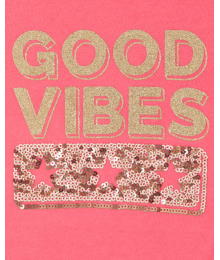 Childrens Place Pink Good Vibes Tie Front Girls Tee