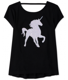 Childrens Place Black Unicorn Sequin Tee