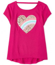 Childrens Place Pink Heart Sequin Girls Tee