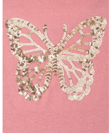 Childrens Place Pinkish Brown Butterfly Sequin Girls Tee