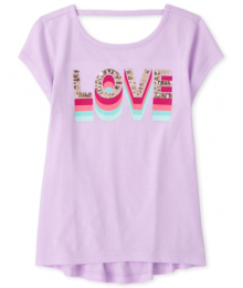 Childrens Place Lilac Love Sequin Tee