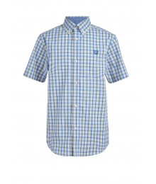 Chaps Yellow/Blue/Off White Check Short Sleeve Stretch Shirt Big Boy