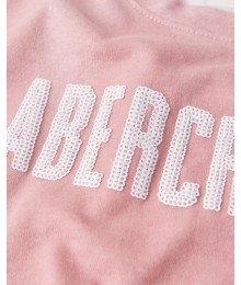 Abercrombie Pinkish Brown With Green/White Tie-Die Tie Front Sequin Logo Teee.