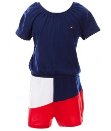 Tommy  Hilfiger Blue White Red Americana Colorblock Romper