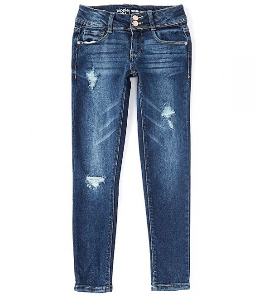 Hippie Girl Denim Double Snap Button Destructed Skinny Jeans