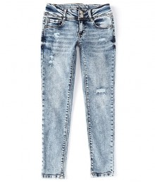Hippie Girl Acid Wash Denim Double Snap Button Destructed Skinny Jeans
