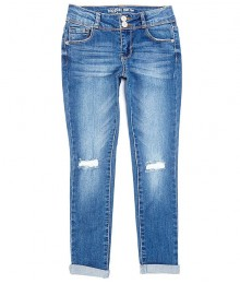 Hippie Girl Light Denim Double Snap Button Destructed Skinny Jeans