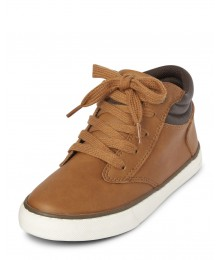 Childrens Place Tan With Brown Strip High Top Sneakers