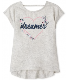 Childrens Place Grey  Dreamers Sequin Heart Cut Out Graphic Top