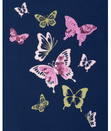 Childrens Place Navy Sequin Butterfly Graphic Cut Out Top