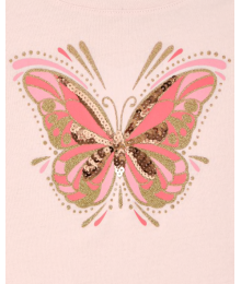 Childrens Place Pink Sequin Butterfly Tie Front Top