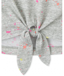 Childrens Place Grey With Dotted Multi Color Print Tie Front Top