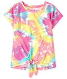 Childrens Place Pink Multi Rainbow Print Tie Front Top
