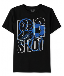 Childrens Place Black Big Shot Boys Graphic Tee